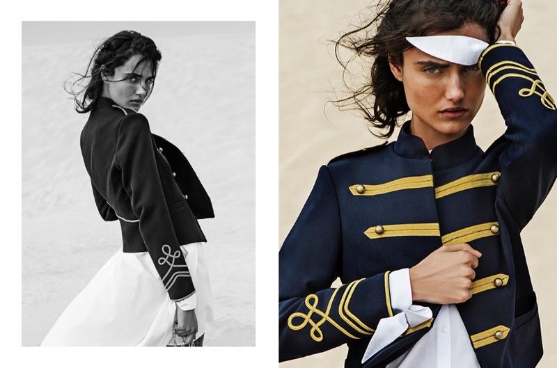 Blanca Padilla models Stradivarius military-style jacket