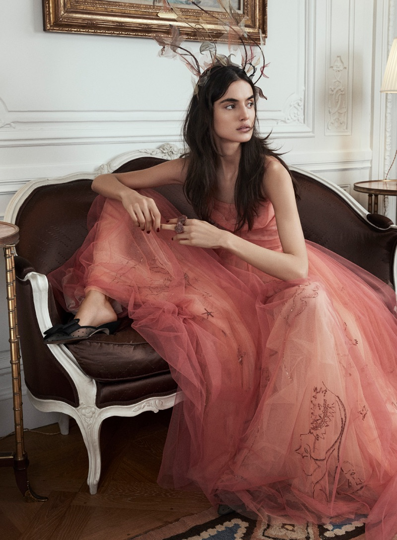 Model Blanca Padilla wears Dior Haute Couture gowns in the fashion editorial
