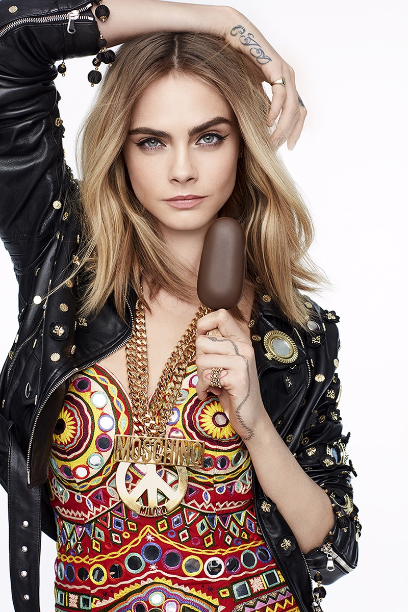Posing in Moschino jacket and dress, Cara Delevingne stars in Magnum Ice Cream campaign
