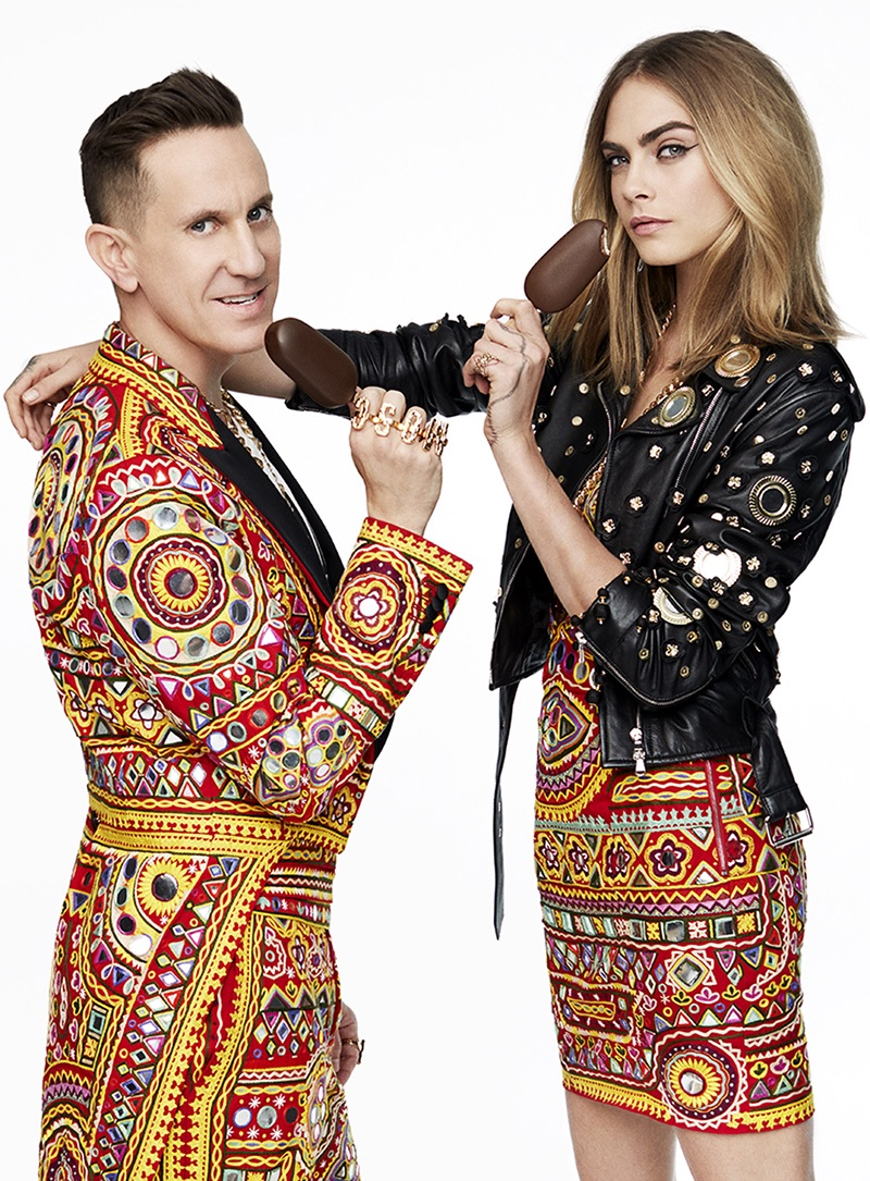 Posing with Moschino designer Jeremy Scott, Cara Delevingne appears in Magnum campaign