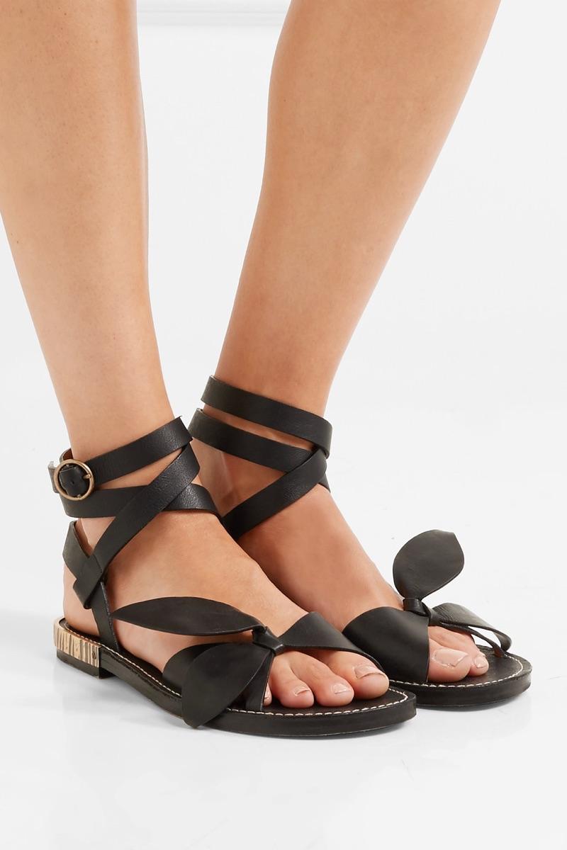 Chloe Bow-Detailed Embellished Leather Sandals $920