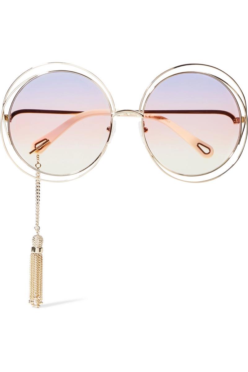 Chloe Carlina Round Frame Gold-Tone Sunglasses $525