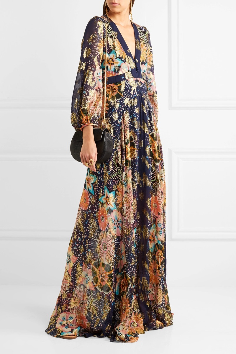 Chloe Floral-Print Metallic Fil Coupe Silk-Gauze Maxi Dress $3,950