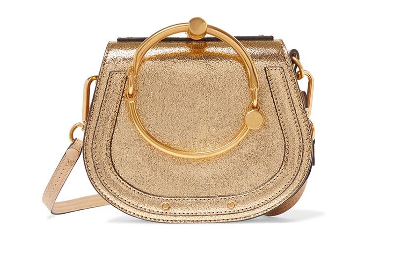 Chloe Nile Bracelet Small Metallic Leather and Suede Shoulder Bag $1,815