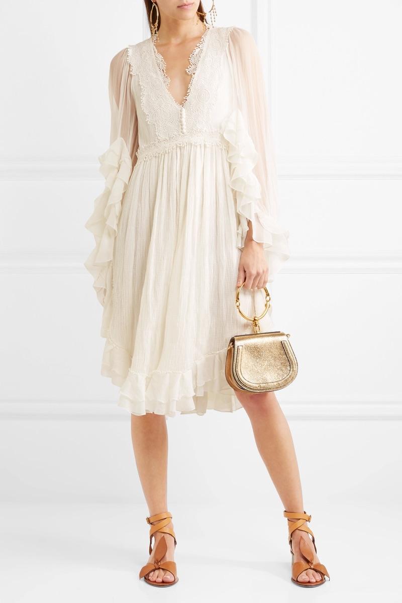Chloe Ruffled Crocheted Lace-Paneled Silk-Crepon Mini Dress $3,750