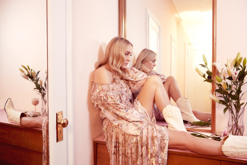 Actress Chloe Sevigny wears Preen dress and Isabel Marant boots