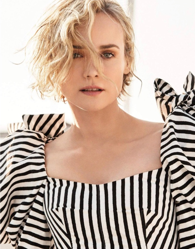 Actress Diane Kruger poses in striped Dolce & Gabbana top