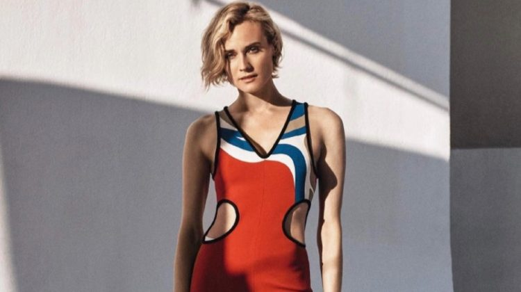 Striking a pose, Diane Kruger wears Louis Vuitton dress and Paco Rabanne sandals