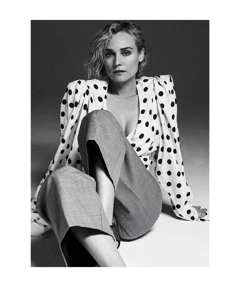 Diane Kruger poses in polka dot print Jacquemus top and pants with Gucci sandals