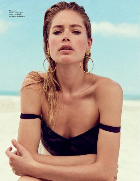 Doutzen Kroes Poses in Beachwear Looks for Vogue Ukraine