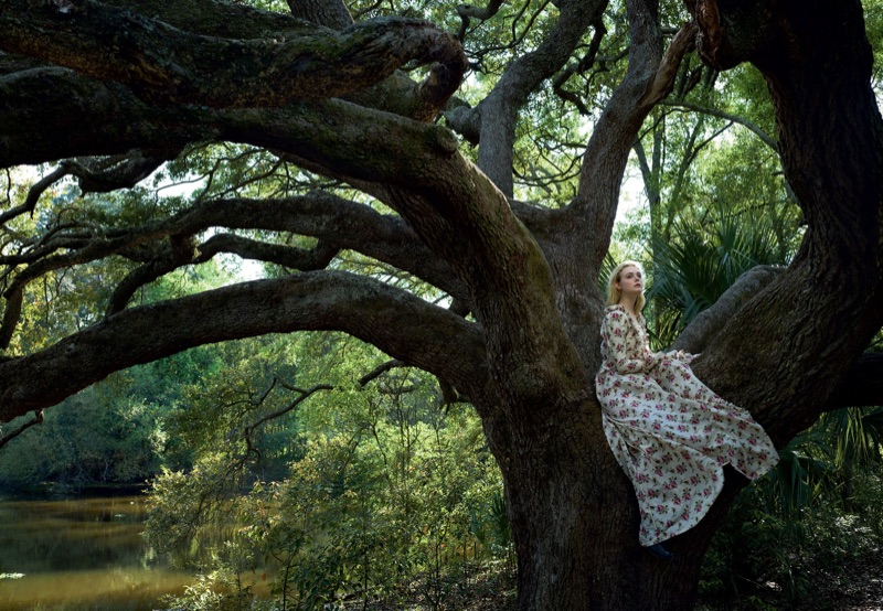 Sitting in a tree, Elle Fanning wears a Gucci printed dress. Photo: Annie Leibovitz/Vogue
