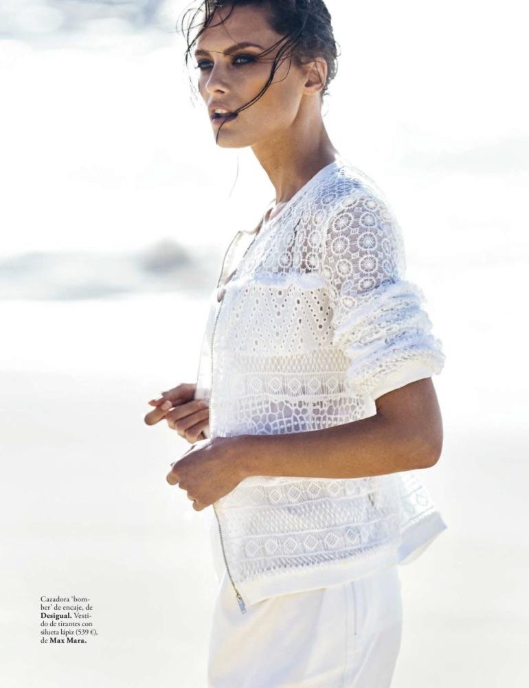 Elena Melnik models Desigual lace bomber jacket and Max Mara dress
