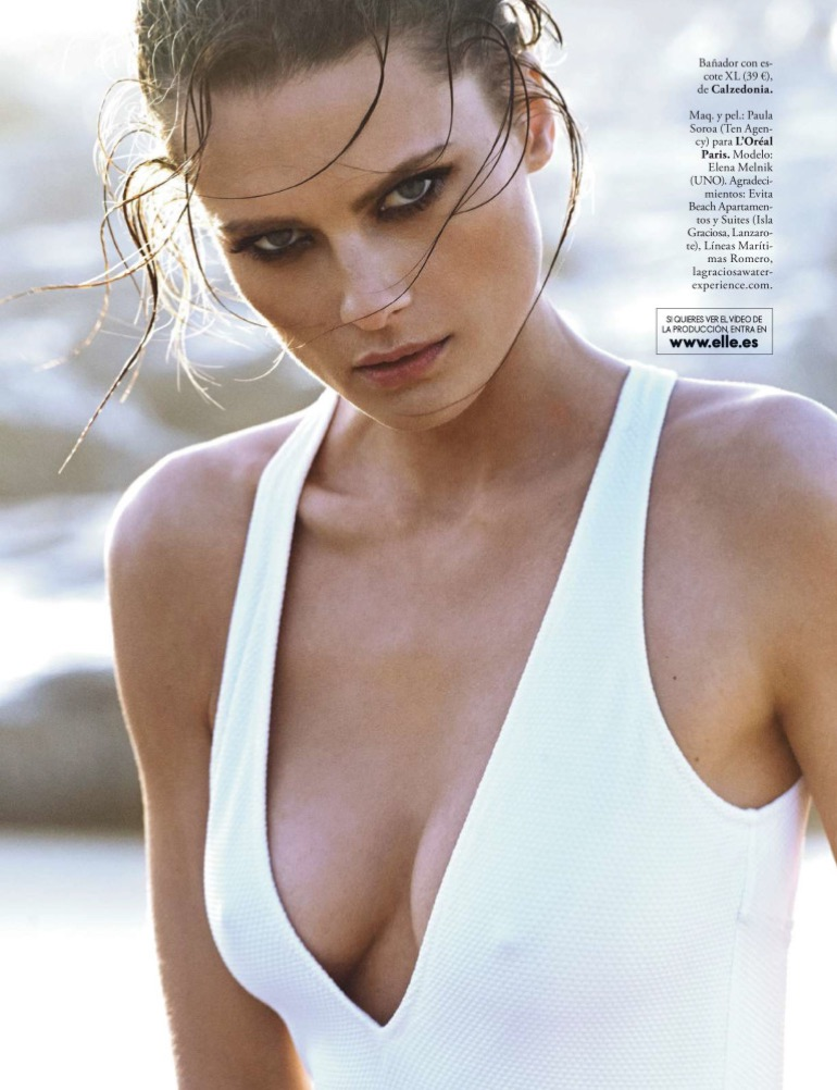 Model Elena Melnik wears Calzedonia one-piece swimsuit