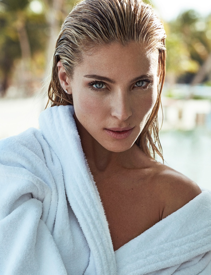 Getting her closeup, Elsa Pataky wears Zara Home robe and Thomas Sabo earrings