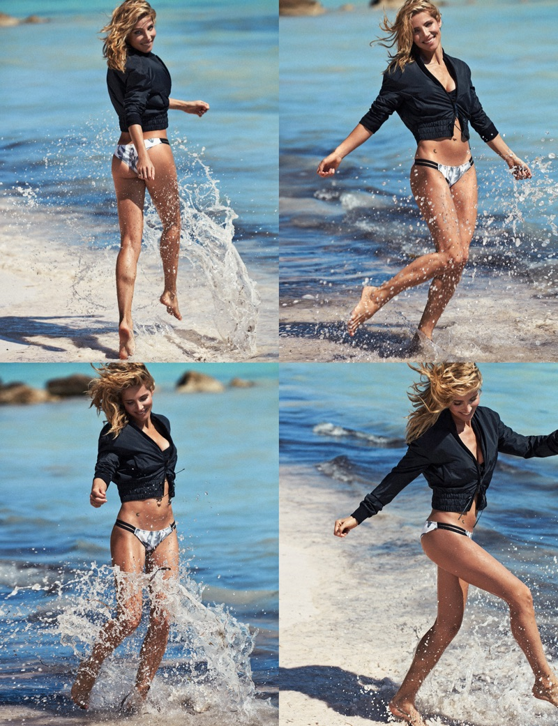Making a splash, Elsa Pataky wears Max Mara jacket with Roxy bikini