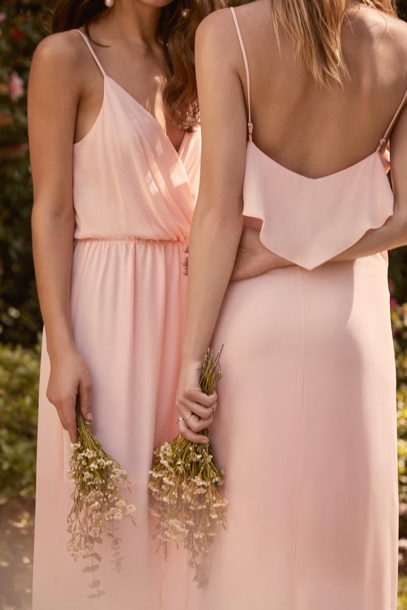 (Left) Pretty by Rory Surplice Dress in Blush $68.00 (Right) Pretty by Rory Flounce Maxi Dress in Blush $68.00