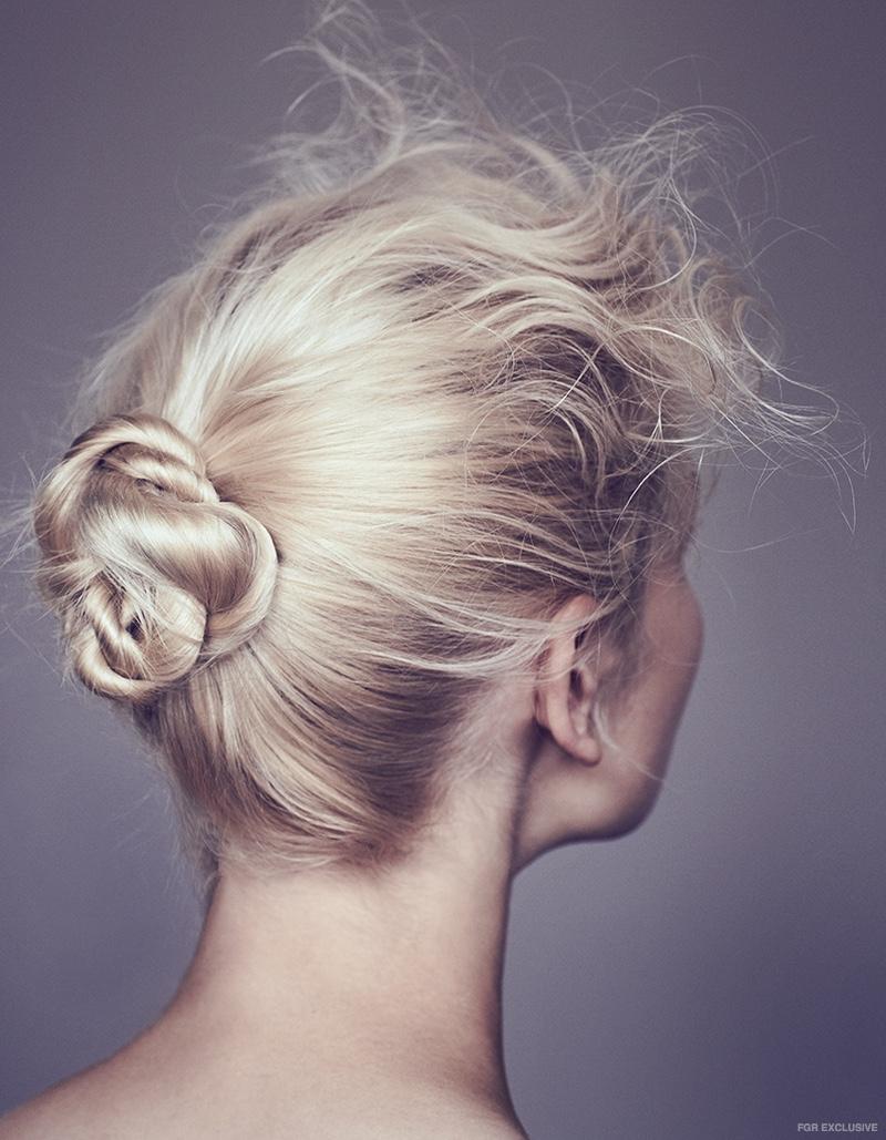 Model Frederikke Olesen wears an elegant updo. Photo: Sam Bisso
