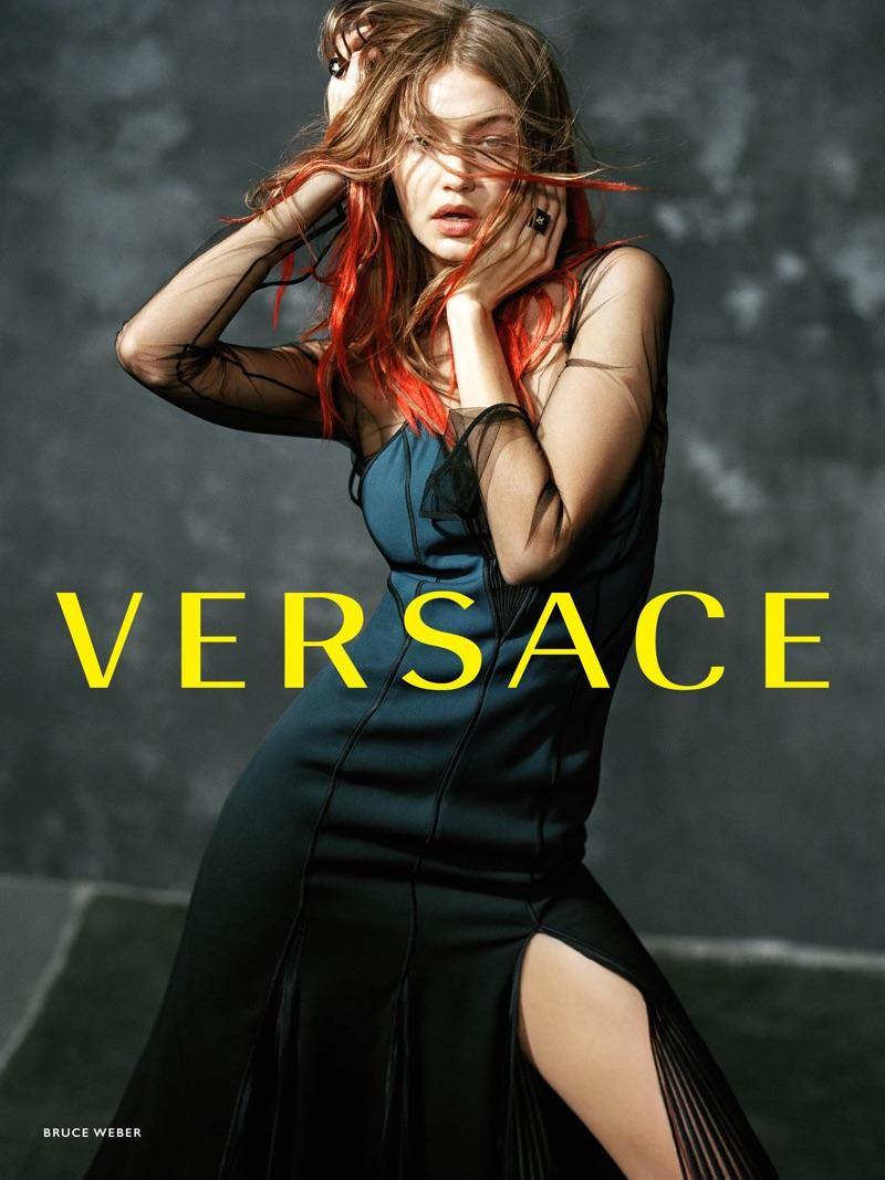 Gigi Hadid Rocks Multicolored Hair in Versace's Fall 2017 Campaign