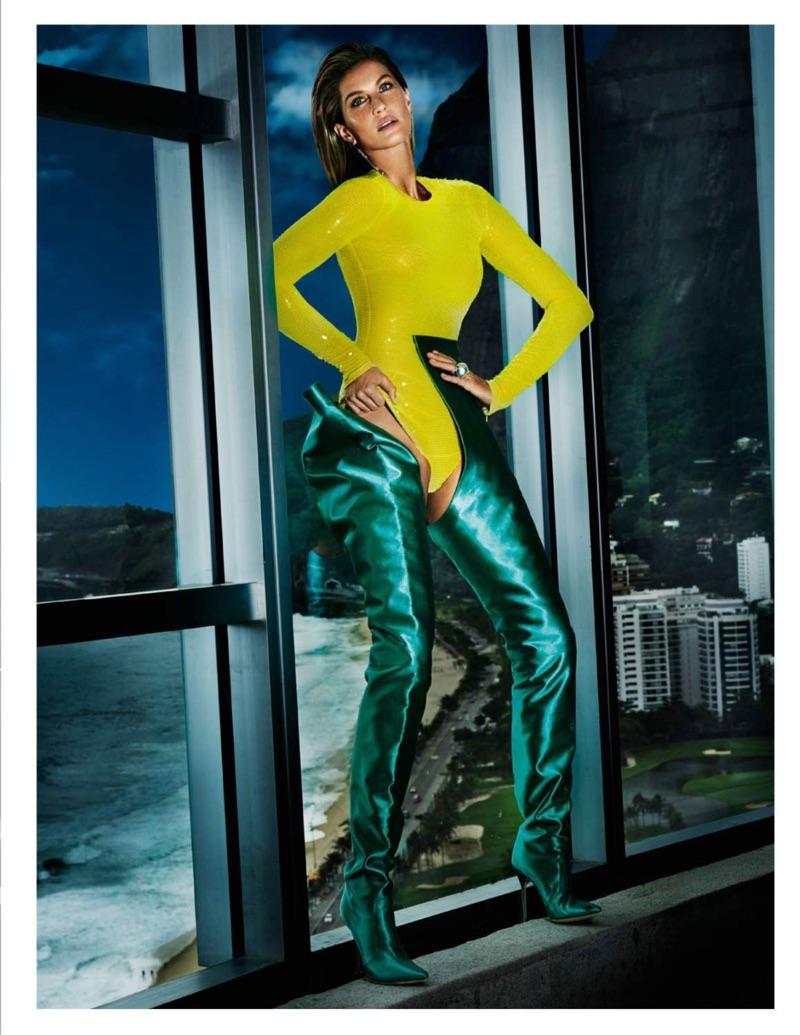 Gisele Bundchen models Emilio Pucci sequined bodysuit with Vetements x Manolo Blahnik boots