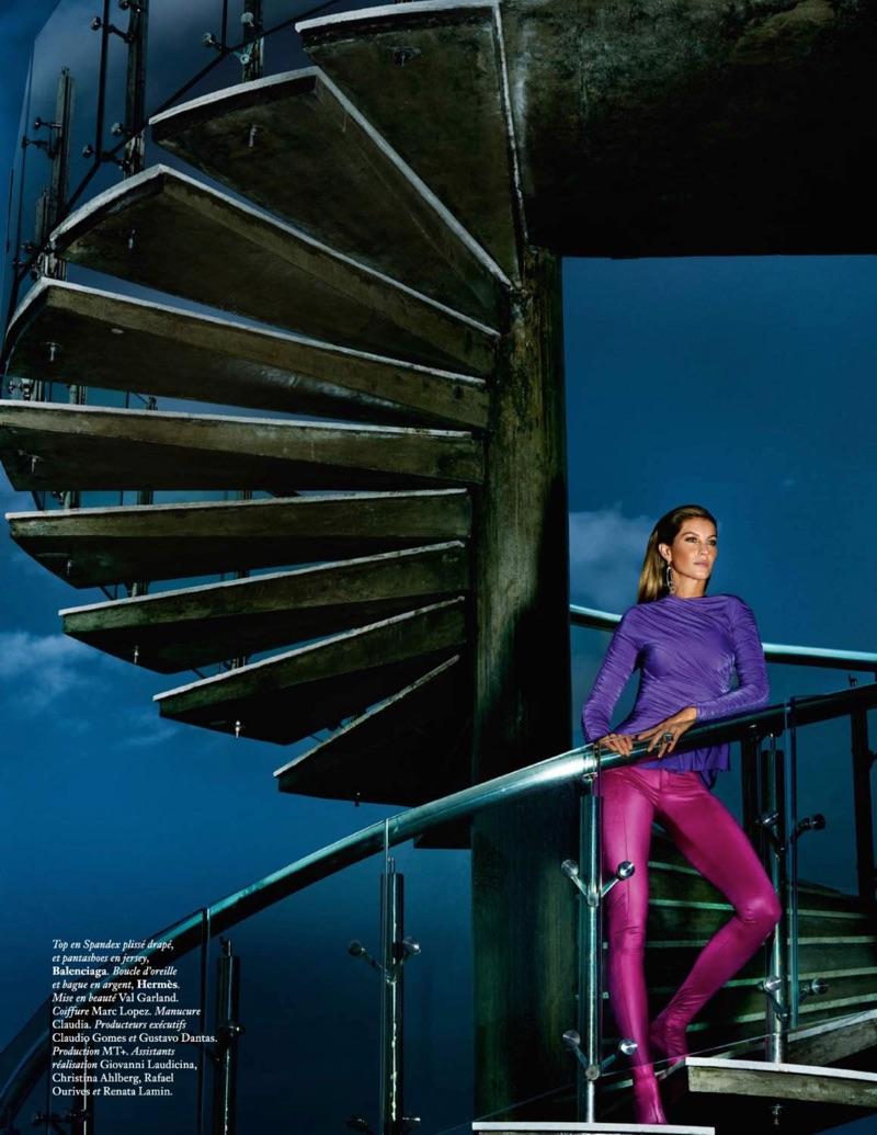 Embracing jewel tones, Gisele Bundchen wears Balenciaga top and pants
