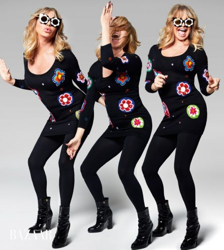 Goldie Hawn poses in Moschino Couture sweater dress, Markus Lupfer x Linda Farrow sunglasses, Falke tights and Giuseppe Zanotti booties