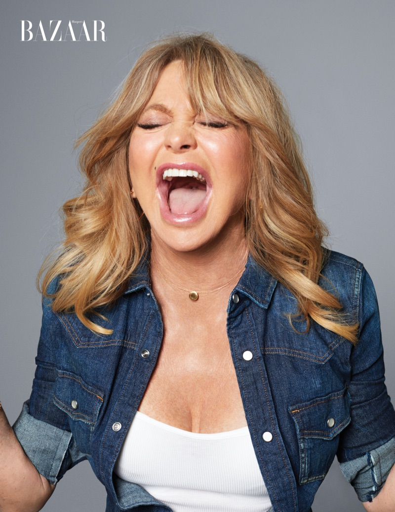 Actress Goldie Hawn poses in Calvin Klein Jeans shirt, Chico's tank and Marco Bicego necklace