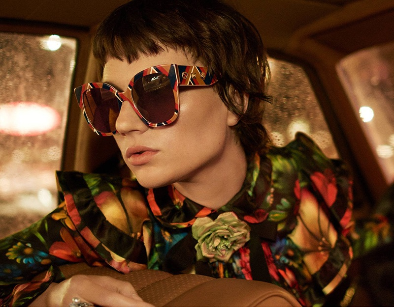 Ellen de Weer Looks 80's Glam in Gucci Eyewear Campaign