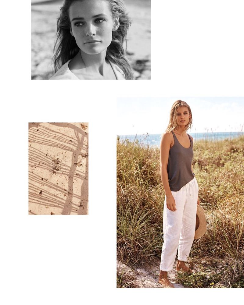 H&M Cotton Jersey Tank Top, Linen Joggers and Straw Hat