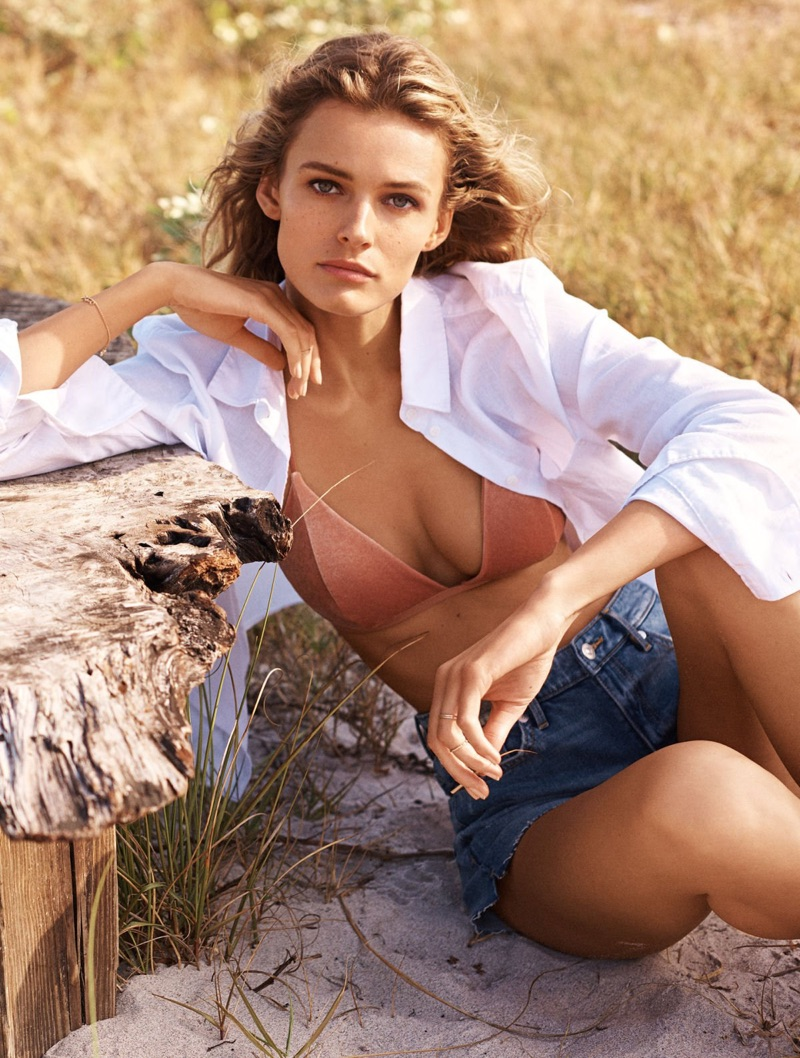 H&M Linen-Blend Shirt, Crushed-Velvet Bikini Top and Denim Shorts