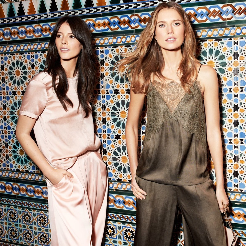 (Left) H&M Short-Sleeved Silk Blouse and Wide-Leg Pants (Right) H&M Camisole Top with Lace and Wide-Cut Satin Pants
