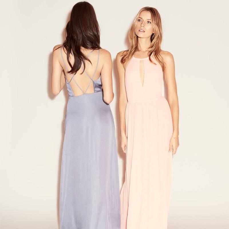 (Left) H&M Long Chiffon Dress (Right) H&M Long Pleated Dress