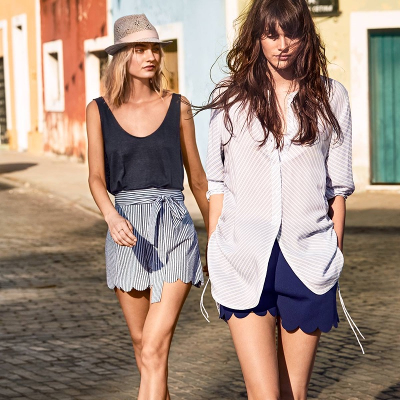 (Left) H&M Linen Jersey Tank Top and Shorts with Scalloped Hems (Right) H&M Drawstring Blouse and Shorts with Scalloped Hems