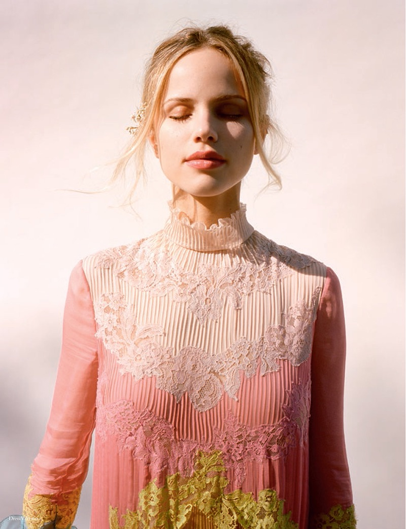 Halston Sage wears Valentino dress with lace detail