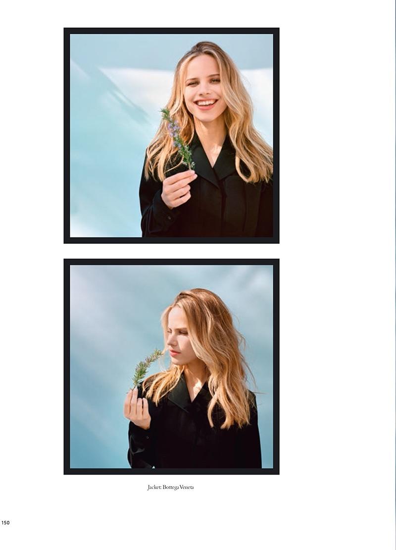 Actress Halston Sage flashes a smile in Bottega Veneta jacket