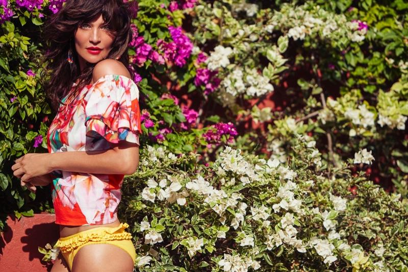 Helena Christensen models  floral print shirt and ruffled bikini bottoms from Debenhams