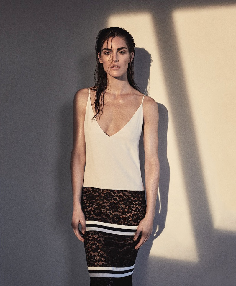 Hilary Rhoda models Chanel dress with lace