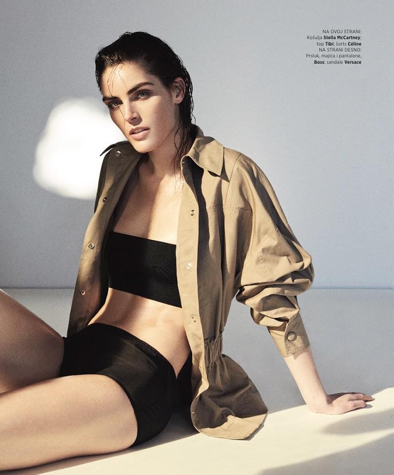 Flaunting some skin, Hilary Rhoda poses in Stella McCartney jacket, Tibi top and Celine shorts