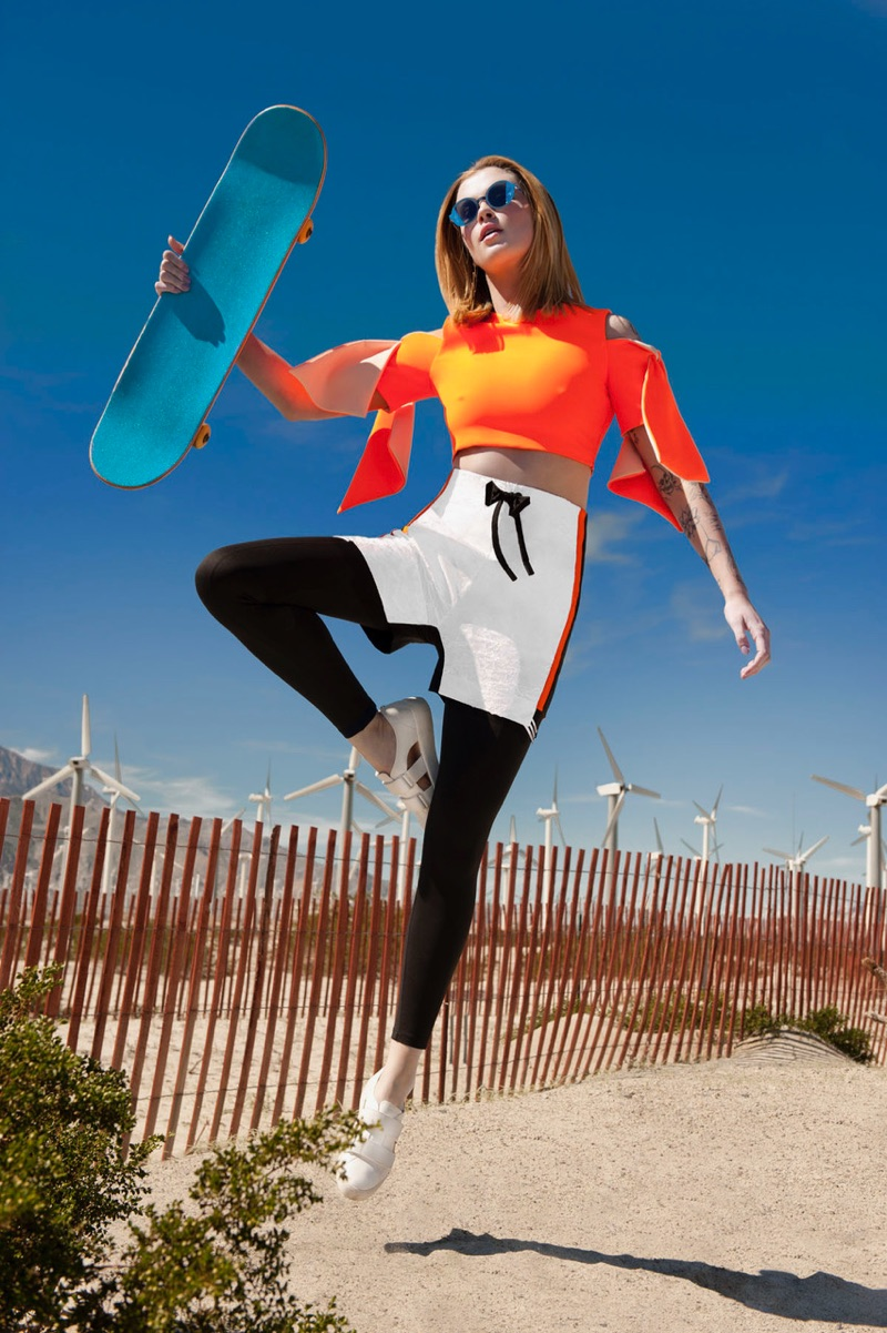 Photographed by Ryan Jerome, Ireland Baldwin poses in sporty looks for the fashion editorial