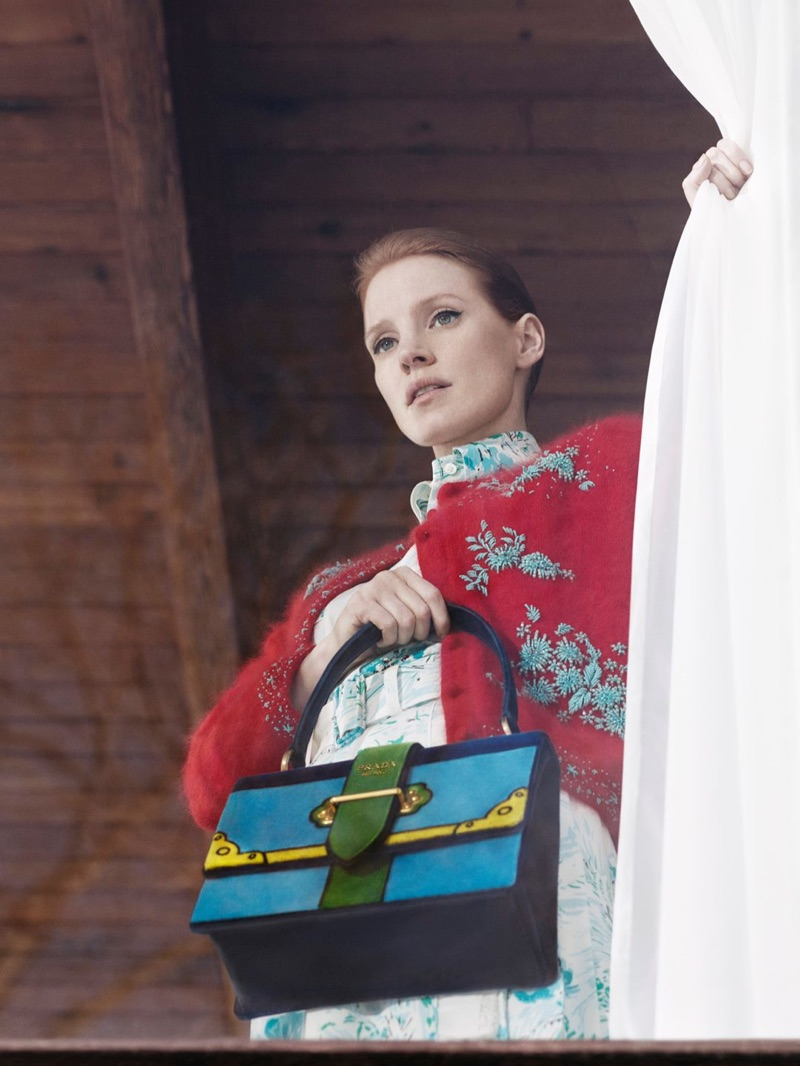 Actress Jessica Chastain stars in Prada's pre-fall 2017 advertising campaign