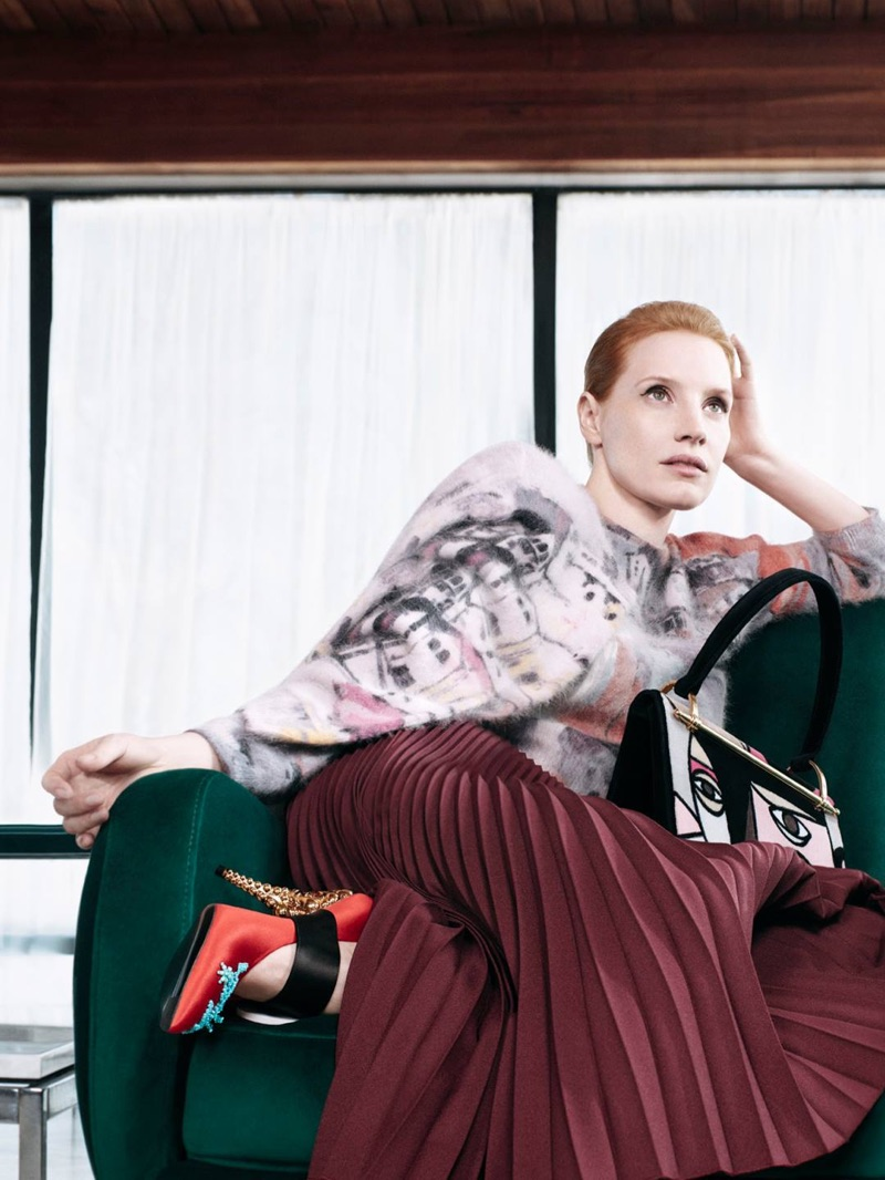 Photographed by Willy Vanderperre, Jessica Chastain appears in Prada's pre-fall 2017 campaign