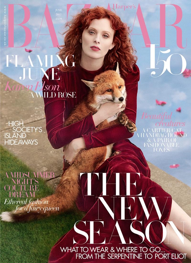 Karen Elson on Harper's Bazaar UK June 2017 Cover