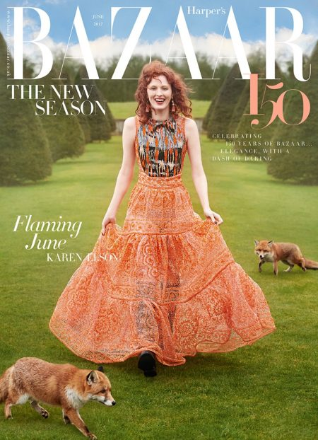 Karen Elson Charms in Elegant Fashions for Harper's Bazaar UK