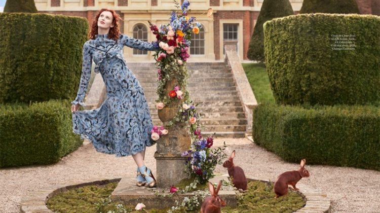 Charming in blue, Karen Elson wears Erdem crepe de chine dress and Christian Louboutin heels