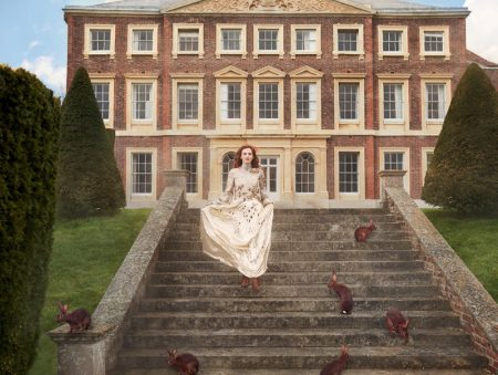 Karen Elson Charms in Elegant Fashions for Harper's Bazaar UK