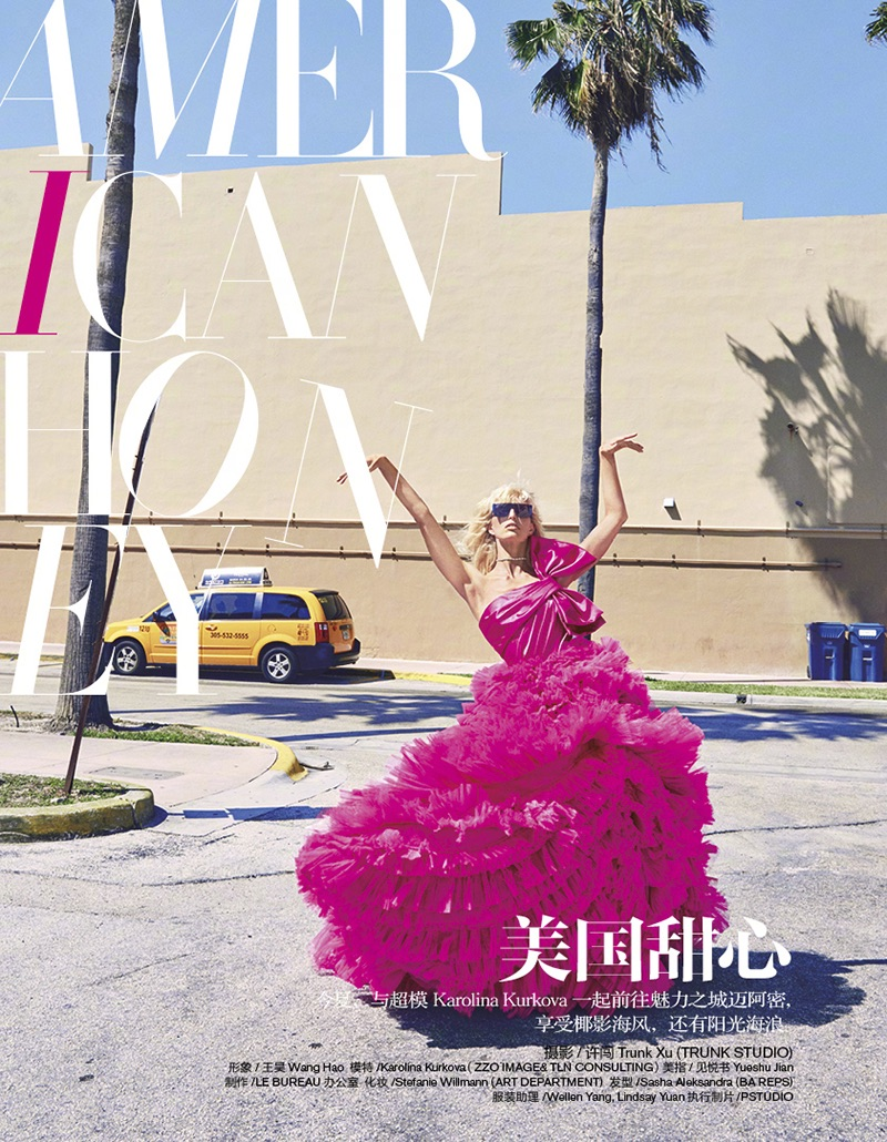 Model Karolina Kurkova wears Zuhair Murad hot pink gown