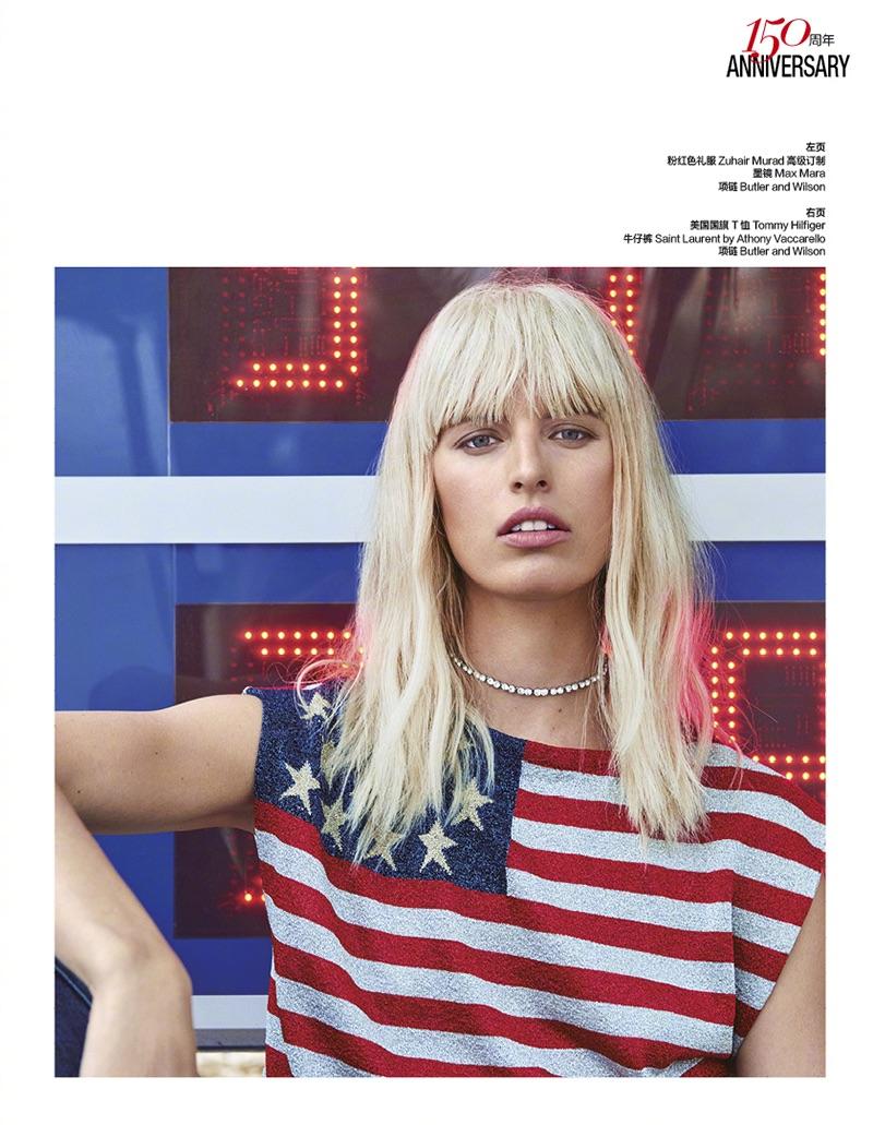 Karolina Kurkova models Tommy Hilfiger flag t-shirt