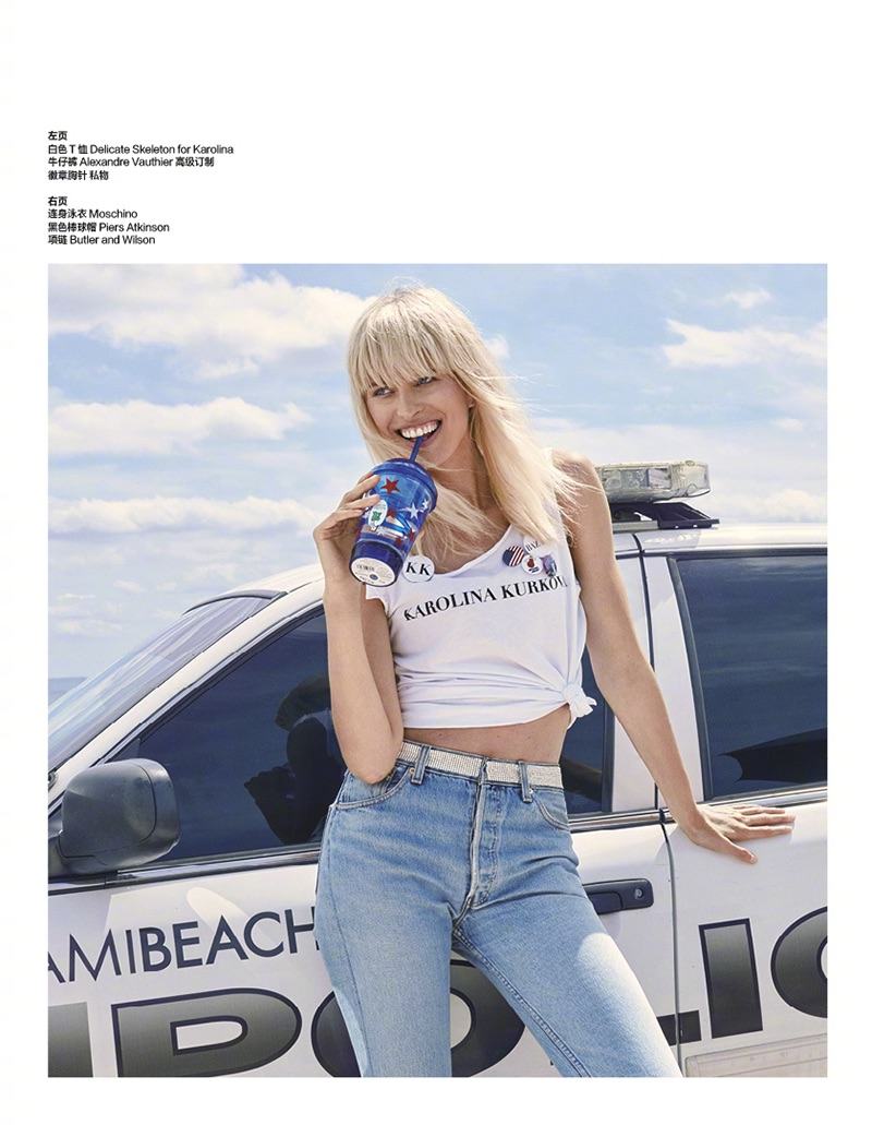 Karolina Kurkova is all smiles in customized t-shirt and Alexandre Vauthier jeans
