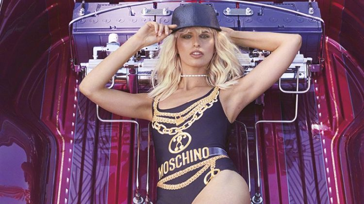 Showing off her swimsuit figure, Karolina Kurkova wears Moschino bodysuit