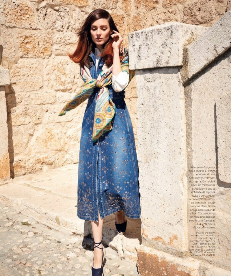 Embracing denim, Kati Nescher models Dior dress with embroidery, Azzedine Alaia shirt and Castaner shoes