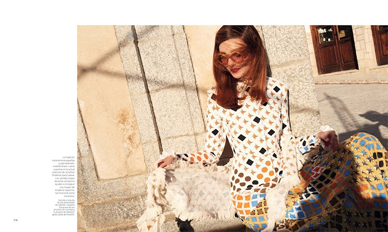 Kati Nescher shines in Loewe printed dress and coverup with Kaleos sunglasses